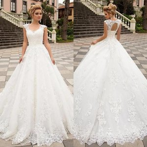 2020 Beach Boho A Line Wedding Dresses V Neck Corset Back Garden Bridal Gowns Lace Appliques Sweep Train vestidos de novia