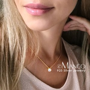 e-Manco 925 Sterling Silver Necklace Round Cubic Zirconia Pendant Necklace for Women Gold Color Wedding Jewelry Drop Shipping
