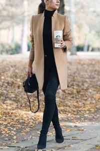 Tasarımcı Yün Coat Casual Uzun Kollu Yaka Uzun Coats Moda Katı Renk Ceketler Kadın Giyim Standı kadın