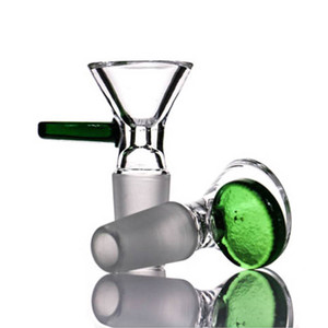 Glass Bowls 14mm 18mm With handle Round Blue Green Glass Bowl For Herb Tobacco Glass Bongs Oil Rigs Water smoking Pipe