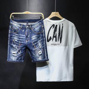 pantalones cortos para hombre del diseñador del verano pantalones vaqueros 2020 de lujo de diseñador vierten Hommes hasta la rodilla rasgado roca reactivación ciclista cuadrado pantalones vaqueros