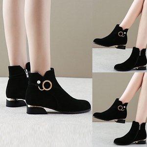 Botas de mujer Señoras de moda Botines con cremallera Estudiante Casual Talla grande Scrub Single Warm fur Winter Warm Shoes M50 #
