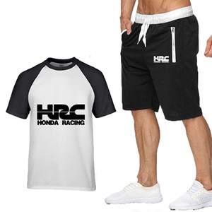 Sommermens Kurzarm HRC Laufringhülse Motorrad Mode elegant Herren sportlich Rundhalsausschnitt T-Shirt + T Shirts Shorts Anzug 2tlg Set