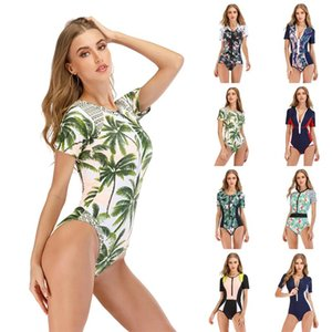Seksi Kısa Kollu Mayo Kadınlar One Piece Mayo Fermuar parça bikini mayo Spor Bodysuit Beachwear Mayo yüzün Jumpsuit
