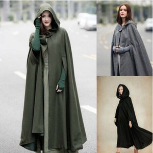 Womens Cape Hooded Cloak Solid Color Cardigan Long Coats Cutton Blend Outerwear Ladies Cloting Loose Cloaks