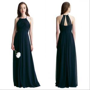 Темно-синий шифон длинные платья подружки невесты 2019 на заказ складки пола длины пола по почте свадебное гостевое платье