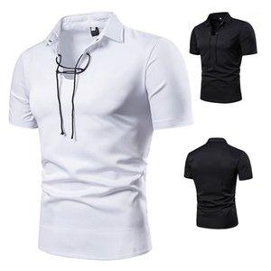 Yaka Polos Erkek Giyim Erkek Tasarımcı İpli Yaka Polos Moda Doğal Renk Kısa Kollu Polos Casual teslimi Aşağı