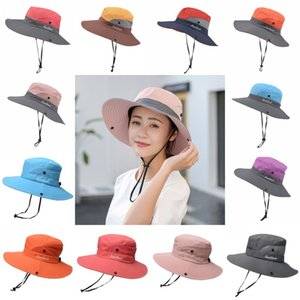 DHL shipping Women Ponytail Fisherman Hat High Quality Outdoor Summer UV Protection Sun Caps Foldable Wide Brim Beach Cap 14 Styles L332FA