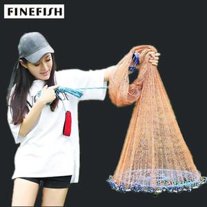 Gros-Finefish 2.4-7.2m USA Cast Ligne Net forte multifilament facile Catch Filets de pêche Chasse au petit filet Sports Network Throw main