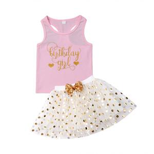Kid Baby Girl Clothes Set Малыш Новорожденный День Рождения Письмо Печати Жилет Без Рукавов Письмо Топы Юбка Лето Хлопок Прекрасные Наряды