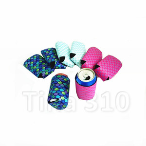 Mermaid Neoprene cups cover Can Cooler cup holder beverage set Beer Drinks Bottle cup Wedding decor Party Favor drinkwareT2I5243