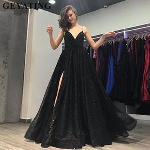 반짝 반짝 블랙 긴 파티 드레스 2018 섹시한 스파게티 스트랩 깊은 브이 - 넥 사이드 분할 야간 파티 드레스 여성 공식 드레스