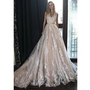 Elegant A Line Chapel Wedding Dress V-neck Sleeveless Ribbon Lace Appliques Country Wedding Gown Court Train Bridal Dress
