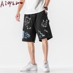 Calças AIOPESON Shorts Mens Bottoms Fashion Trend Sports Mens impressão dos desenhos animados Rua Hip Hop solto Shorts comprimento do joelho Punk