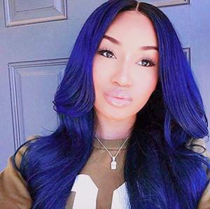 2019 Primavera Estilo Perucas azul peruca dianteira do laço Glueless Longo Big ondulado escuro azul sintéticos Raízes peruca escuras Oriente Parting Ombre Lace Wig
