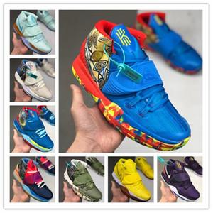 2020 New Sponge x Designer Kyrie 6 Pineapple House Mens Basketball Shoes Irving 6s Graffiti Keep Sue Fresh 20th Anniversary Sports Sneakers