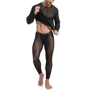 Sexy Men Pajamas Sets See Through Ice Silk Thin Man T-shirt & Pants Pajama Sets Skinny Fitness Riding Sleep Bottoms Sleepwears