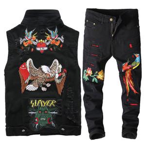2019 novos homens negros Jeans Define Moda bordado Primavera Phoenix Flower Buraco afligido terno de brim Coletes + Pants Conjuntos Mens Clothing 2 Pieces