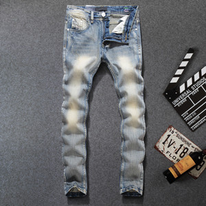 Mens Designer Jeans Denim Fashion Brand Crayon Pantalon bleu clair Blanchi trou Washed Pantalons Slim Pantalon Distressed moto Ripped