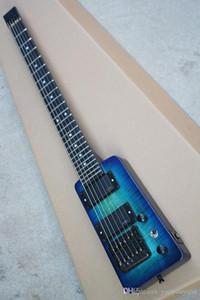 guitarra elétrica de viagem azul com captador EMG, escala de pau-rosa, chama bege verniz, hardware preto, serviço personalizado