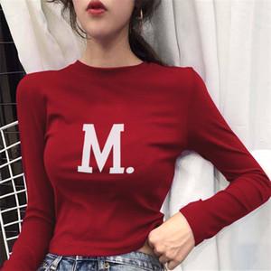 Harajuku Top de manga larga de cuello alto de la camiseta del estilo coreano de la moda impresa letra tees Mujer de Kawaii otoño camiseta atractiva