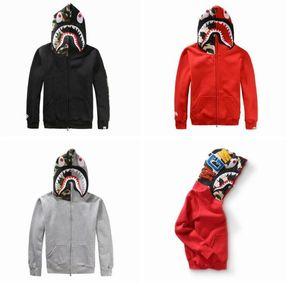 New Fashion Mens Shark Hoodies Embroidery Shark Ma1 Flight Male Tide Shark Hoodie Men &#039 ;S Couples Hooded Jackets Men Hip Hop Hooded