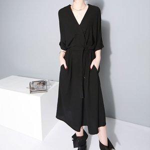 2020 summer new women's loose belt waist waist skirt fashion V-neck dress