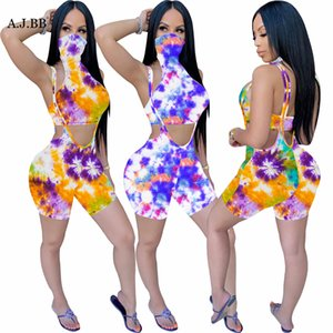 2020 Europe Summer new tie dye one piece mask set fashion slim high collar sleeveless women's vest and shorts two piece set