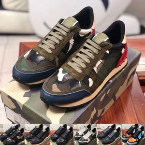 Lujo plate-forme zapatillas V-TlNO Con los bolsos originales de certificados de envasado factura original de cuero de vaca de los zapatos ocasionales de los deportes 36-45