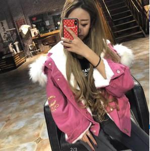Les femmes super chaud manteau veste sexy douce marque Fox fourrure mode dame svelte Mink cheveux OL hiver épais en peau d'agneau fourrure lettre sexy Veste à capuche