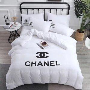 2020 C C ensembles de literie luxe 4 pièces mis ensembles de literie de mode blanc housse de couette chaude draps de lit design décoration maison queen size