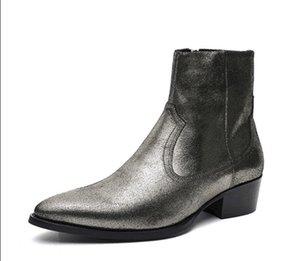 Trendy selvaggio casuale retrò da uomo stivali moda punta high-top cerniera vera pelle di utensili stile britannico Martin stivali