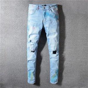 Fashion designer jeans Ripped Biker Leather Patchwork Slim mens jeans Fit Black Moto Denim Joggers For Male mens designer jeans