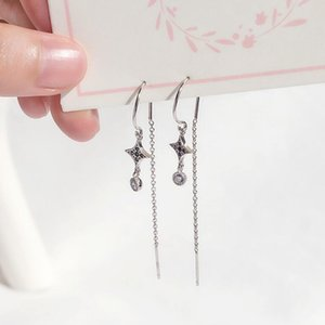 jewelry S925 sterling silver earrings the four stars tassel zircon ear line earrings for women hot fashion