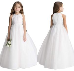 2020 Bola baratos Vestido Flower Girl Dresses para casamentos Crianças casamento formal do partido vestido Pescoço da colher mangas Pageant Primeira Comunhão Vestido