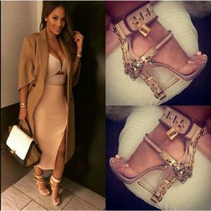 frauen stiletto vorhängeschloss strass verschönert high heels knöchel wickel sandalen schuhe pvc clear metal heels peep toe pumps
