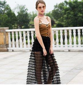 summer new sexy perspective elastic empire A-line skirt black mesh tassel slim mid-length skirt overskirt wedding dress