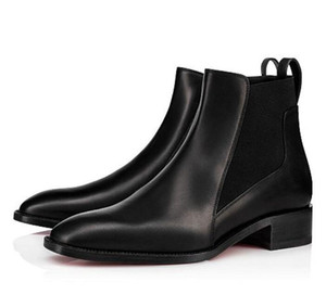 Luxury Party Wedding Dress Black Leather Marmada Women's Red Bottom Ankle Boots Classic Ladies Winter Red Sole Martin Boots