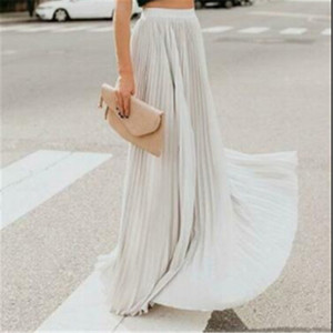 Fashion Women Streetwear Retro Stretch High Waist Pleated Skirts Swing Long Maxi Skirt Elegant Ladies Street Photography Wear