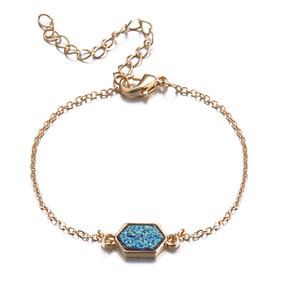 Gold Silver Bracelet Color Bangle 7 Cores Resina drusy bracelete de imitação de cristal hexágono pedra druzy Pulseiras