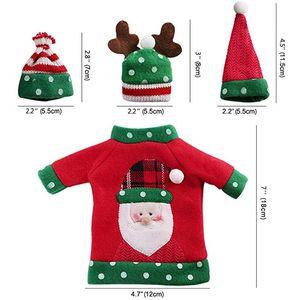 Ugly Xmas Jewelry Pouches Christmas Sweater Botella de vino Cubierta de la bolsa Handmade Party Candy Holders Regalos Bolsas