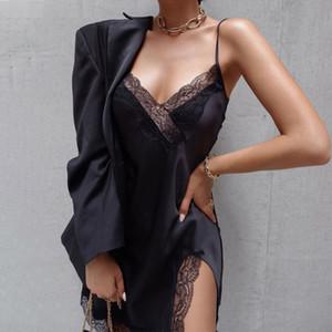 Womens Designer lambrissé dentelle robes sexy encolure en V Robe sans manches mode couleur solide moulantes Robes Vêtements pour femmes