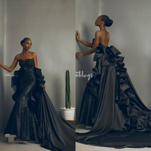 2020 Африканский черный Вечерние платья Съемные юбки Милая Sparkly Sequined Русалка платье оборками выполненные на заказ вечерние платья