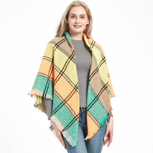 2020 Knitted Spring Winter Women Scarf Plaid Warm Cashmere Scarves Shawls Neck Bandana Pashmina Lady Wrap Fashion Blanket Oversized Tartan