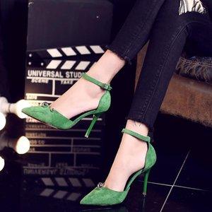 Hot Sale-Damenschuhe 2017 neue Baotou dünn mit Mode Schuhe Wildleder flachen Mund Wort Schnalle wilde High Heels