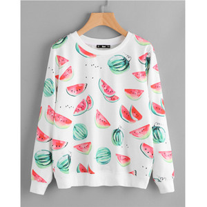 Frühlings-lange Hülse der Frauen-T-Shirt Mode Weibliche Watermelon Print Tees beiläufige Damen Crew Neck Kleidung
