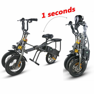 Электрические скутеры Взрослые 3-х колесные электрические велосипеды с 2-х штучным аккумулятором 350 Вт Быстро складывающийся мощный электрический велосипед