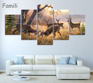 5 Bild Rushed Modular Bilder Deer Wandkunst Leinwand Gedruckt Malerei Ungerahmt Wandbild Für Wohnzimmer Heißer Cuadros