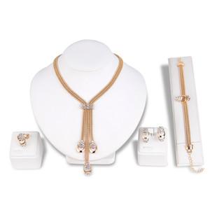 Moda elmas alaşım kolye dört parçalı set takı sıcak kolye seti set