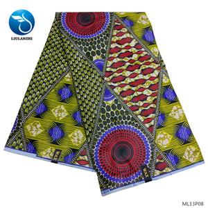 여성을위한 LIULANZHI면 왁스 직물 아프리카 직물 왁스 드레스 2019 새로운 도착 인쇄 패브릭은 6야드 ML13P08-ML13P13 드레스